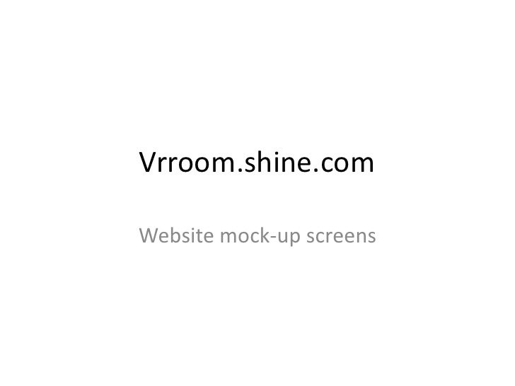 Vrroom.shine.com  Website mock-up screens