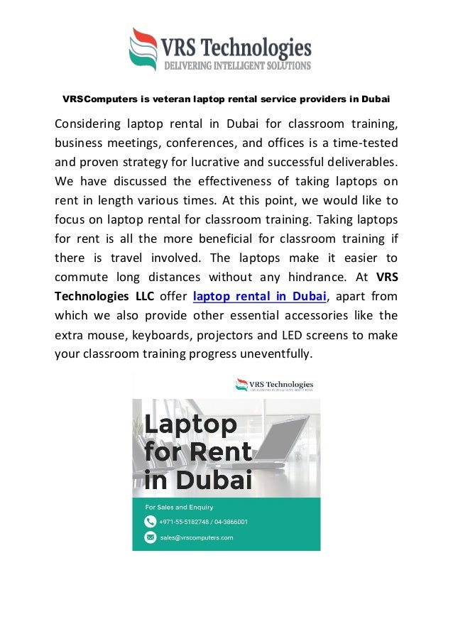 VRSComputers is veteran laptop rental service providers in Dubai Considering laptop rental in Dubai for classroom training...
