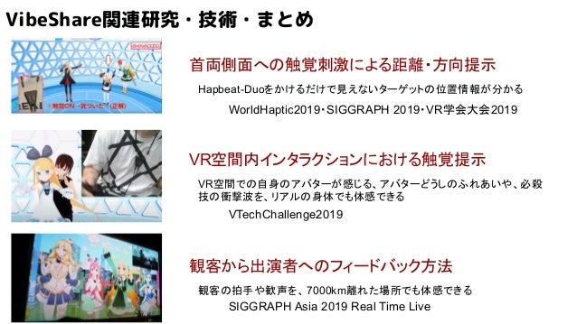 VibeShare関連研究・技術・まとめ 首両側面への触覚刺激による距離・方向提示 VR空間内インタラクションにおける触覚提示 観客から出演者へのフィードバック方法 Hapbeat-Duoをかけるだけで見えないターゲットの位置情報が分かる VR...