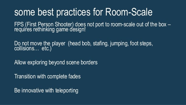 Room Scale Vr Best Practices