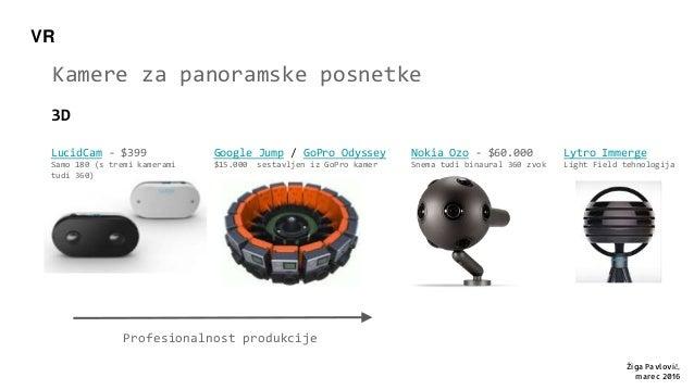 VR 3D Kamere za panoramske posnetke Nokia Ozo - $60.000 Snema tudi binaural 360 zvok Google Jump / GoPro Odyssey $15.000 s...