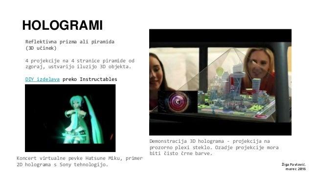HOLOGRAMI Reflektivna prizma ali piramida (3D učinek) 4 projekcije na 4 stranice piramide od zgoraj, ustvarijo iluzijo 3D ...