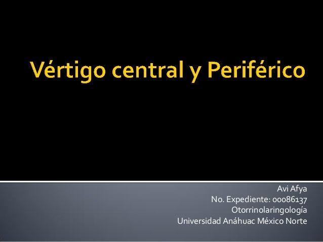 Avi Afya No. Expediente: 00086137 Otorrinolaringología Universidad Anáhuac México Norte