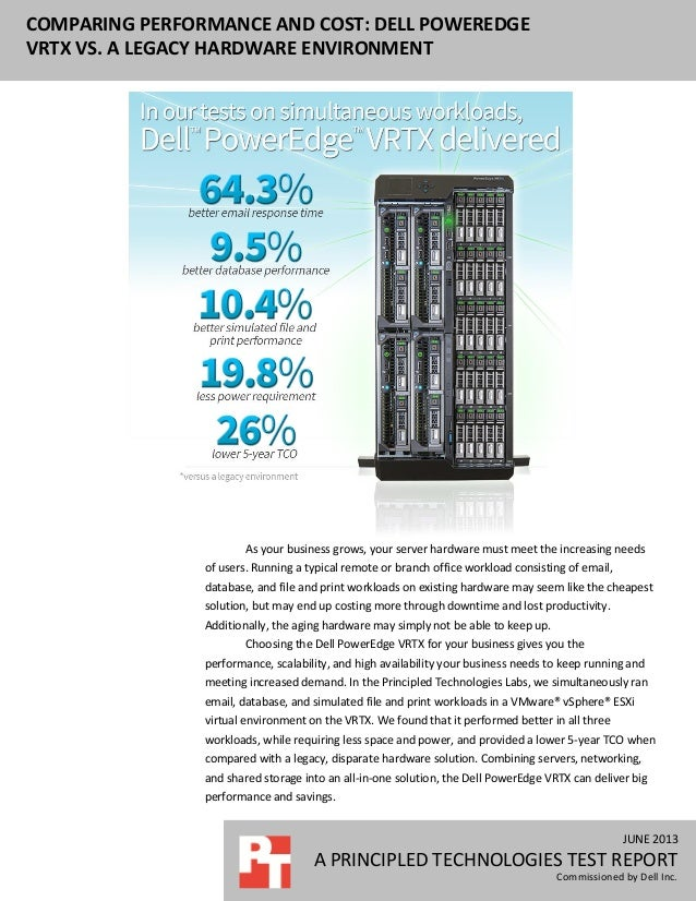 JUNE 2013 A PRINCIPLED TECHNOLOGIES TEST REPORT Commissioned by Dell Inc. COMPARING PERFORMANCE AND COST: DELL POWEREDGE V...