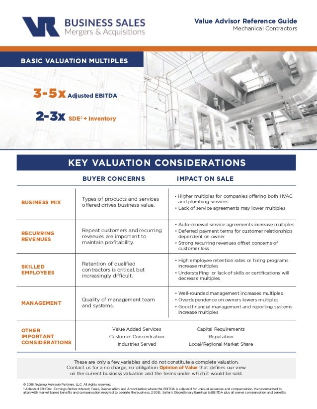 Mechanical Contractors Value Advisor Reference Guide