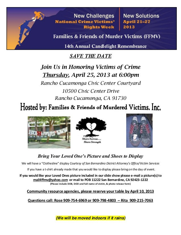 Families & Friends of Murder Victims (FFMV)                                   14th Annual Candlelight Remembrance         ...