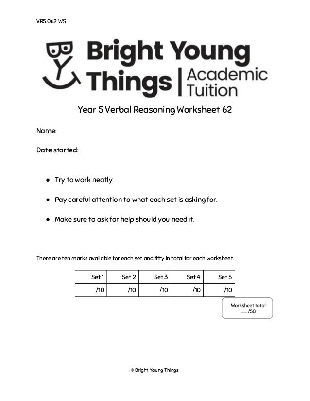 Bright Young Things  Verbal Reasoning Sample Paper