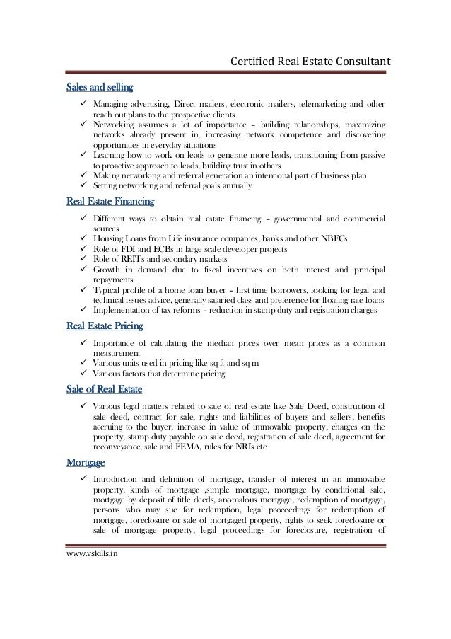 Vs 1006 Certified Real Estate Consultant Brochure
