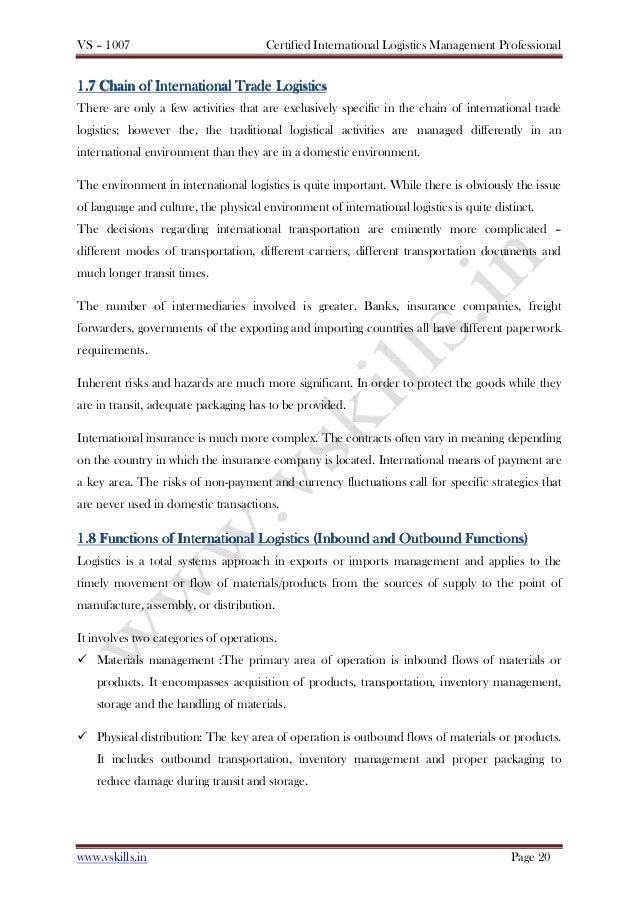 Certified International Logistics Professional Sample Material