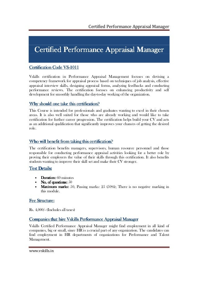 Performance Appraisal Manager Certification