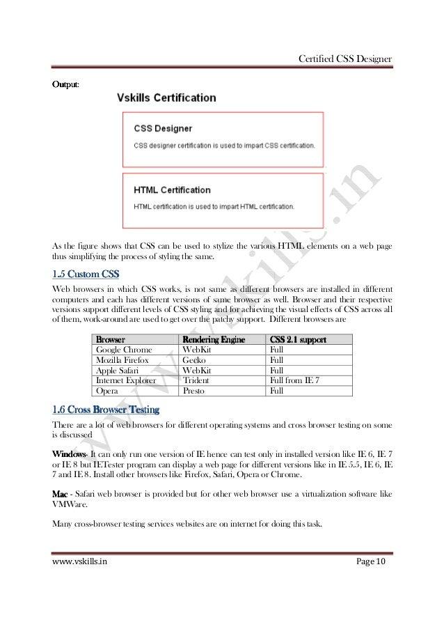 Vskills Certified Css Designer Notes