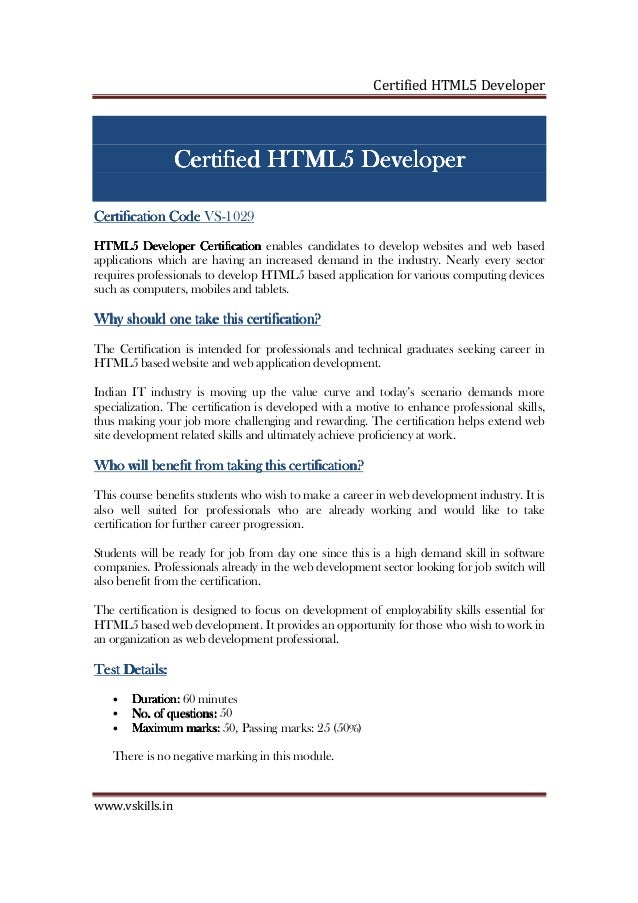 Html5 Developer Certification
