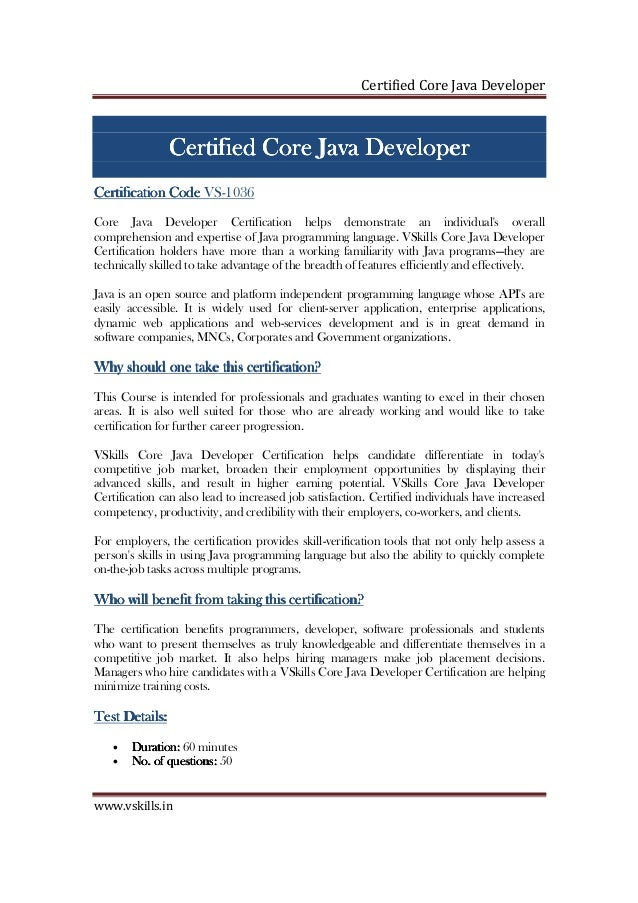 Certified Core Java Developer