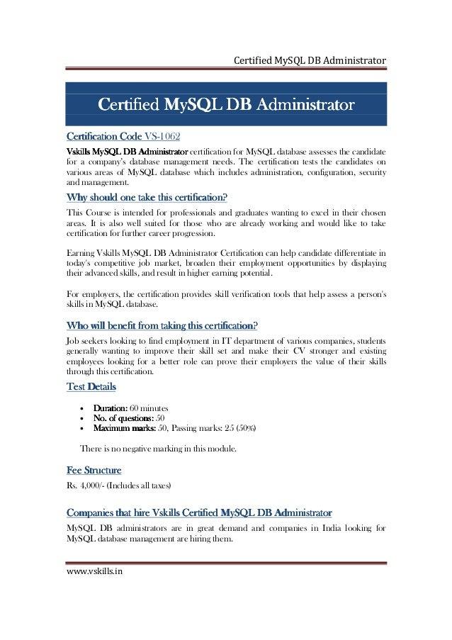 Mysql Db Administrator Certification