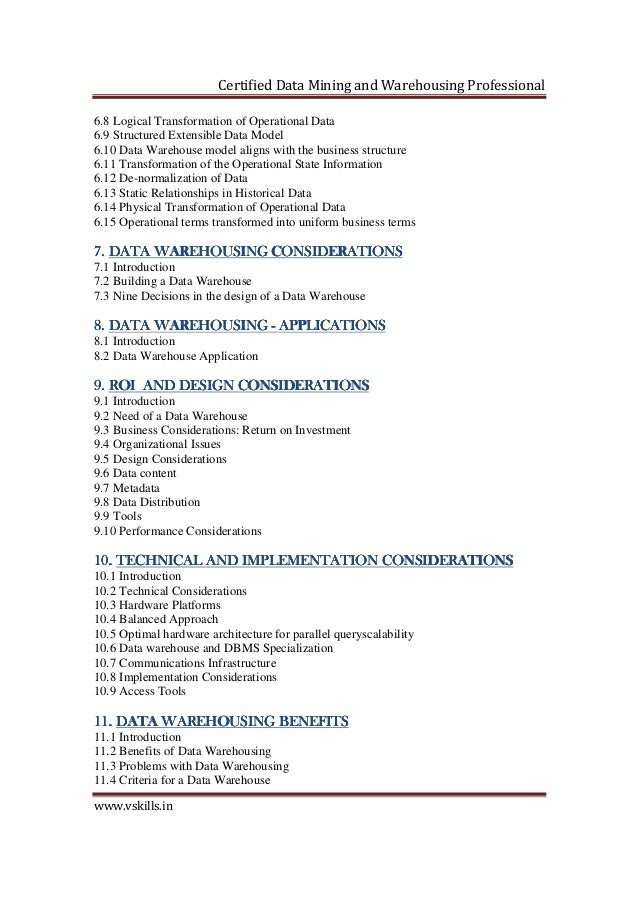 Data Mining and Warehousing Certification