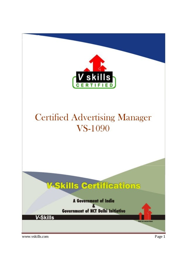 www.vskills.com Page 1 33333 Certified Advertising Manager VS-1090