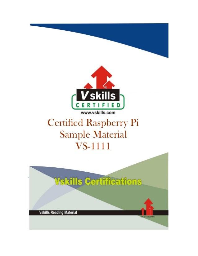 Vskills raspberry pi professional sample material