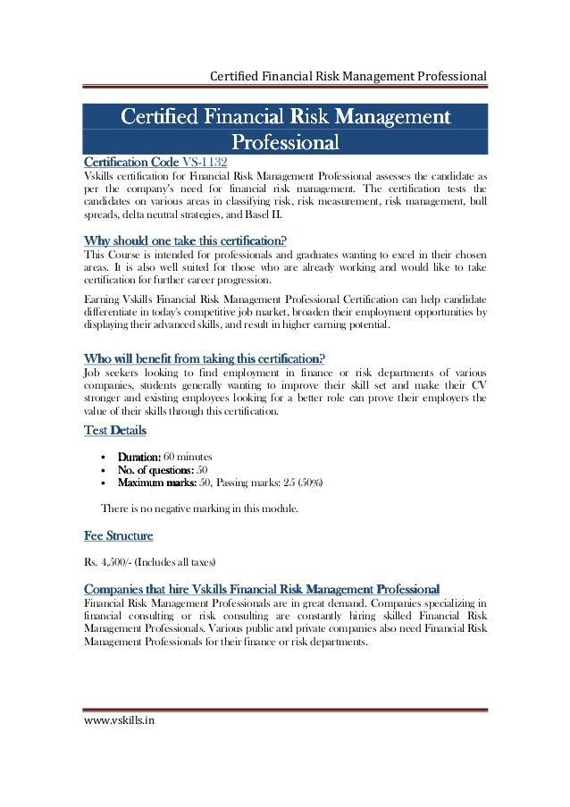 Financial Risk management Certification