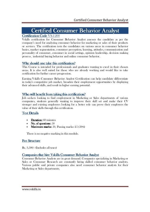 Consumer Behavior Analyst Certification