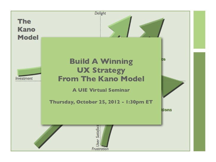 Build A Winning       UX Strategy   From The Kano Model        A UIE Virtual SeminarThursday, October 25, 2012 - 1:30pm ET