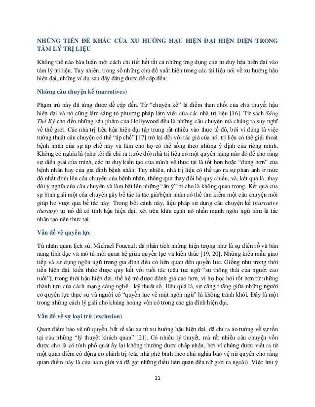 11 NHỮNG TIỀN ĐỀ KHÁC CỦA XU HƯỚNG HẬU HIỆN ĐẠI HIỆN DIỆN TRONG TÂM LÝ TRỊ LIỆU Không thể nào bàn luận một cách chi tiết h...