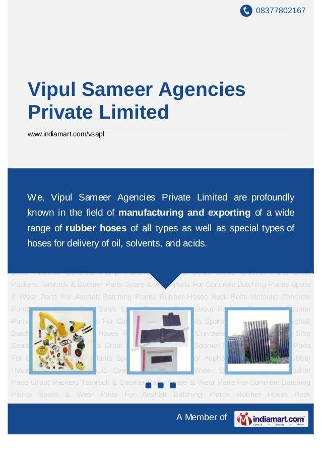 08377802167    Vipul Sameer Agencies    Private Limited    www.indiamart.com/vsaplConcrete Pump Parts Water Stop Seals Sto...