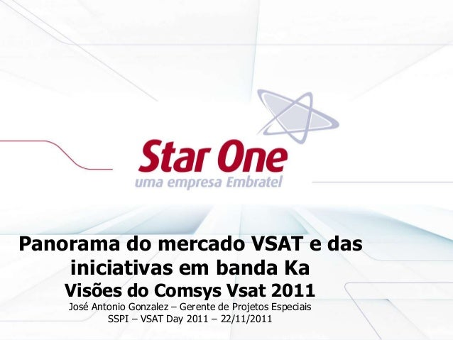 Panorama do mercado VSAT e das iniciativas em banda Ka Visões do Comsys Vsat 2011 José Antonio Gonzalez – Gerente de Proje...