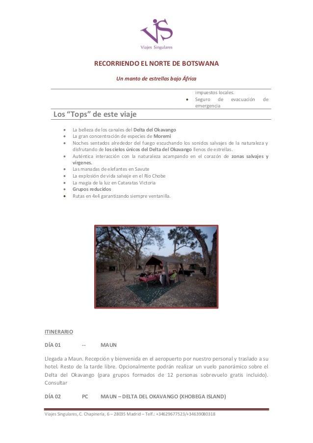RECORRIENDO EL NORTE DE BOTSWANA Un manto de estrellas bajo África   impuestos locales. Seguro de evacuación emergencia  ...