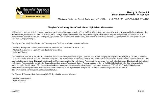 Nancy S. Grasmick State Superintendent of Schools 200 West Baltimore Street, Baltimore, MD 21201 410-767-0100 410-333-6442...