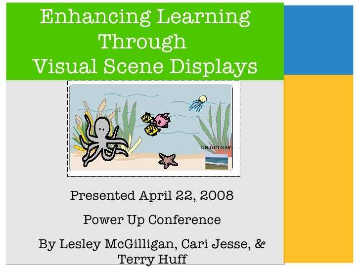 Enhancing Learning Through  Visual Scene Displays Presented April 22, 2008 Power Up Conference By Lesley McGilligan, Cari ...