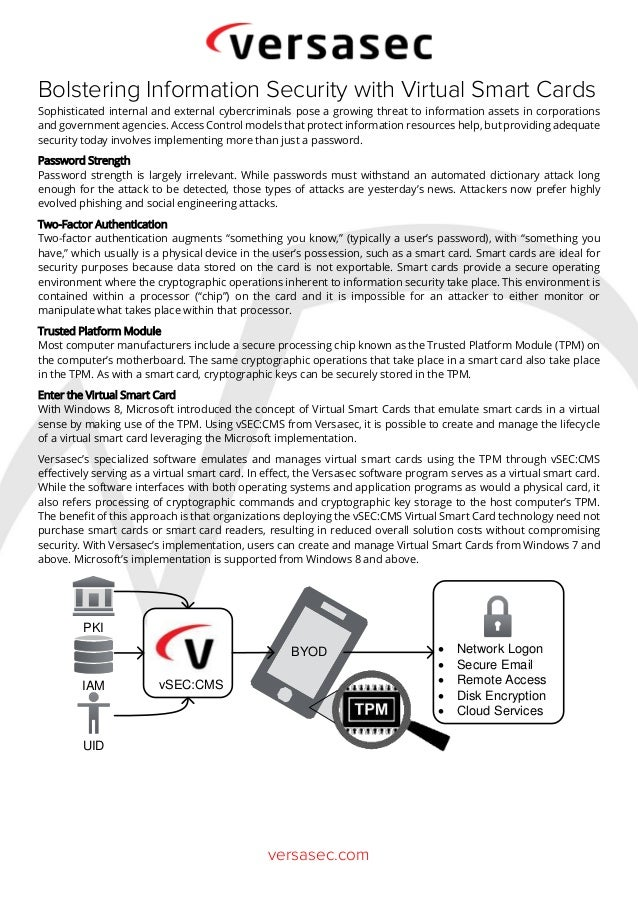 versasec.com Bolstering Information Security with Virtual Smart Cards Sophisticated internal and external cybercriminals p...