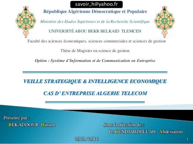 République Algérienne Démocratique et Populaire Ministère des Etudes Supérieurs et de la Recherche Scientifique UNIVERSITÉ...