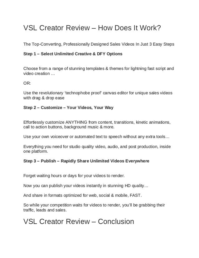 VSL Creator Review – How Does It Work? The Top-Converting, Professionally Designed Sales Videos In Just 3 Easy Steps Step ...