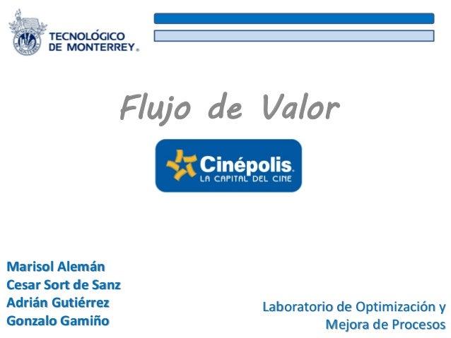 Flujo de Valor Marisol Alemán Cesar Sort de Sanz Adrián Gutiérrez Gonzalo Gamiño Laboratorio de Optimización y Mejora de P...