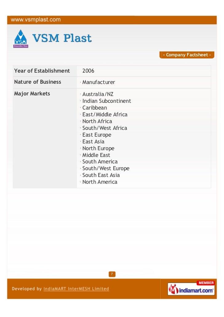 - Company Factsheet -Year of Establishment   2006Nature of Business      ManufacturerMajor Markets           Australia/NZ ...
