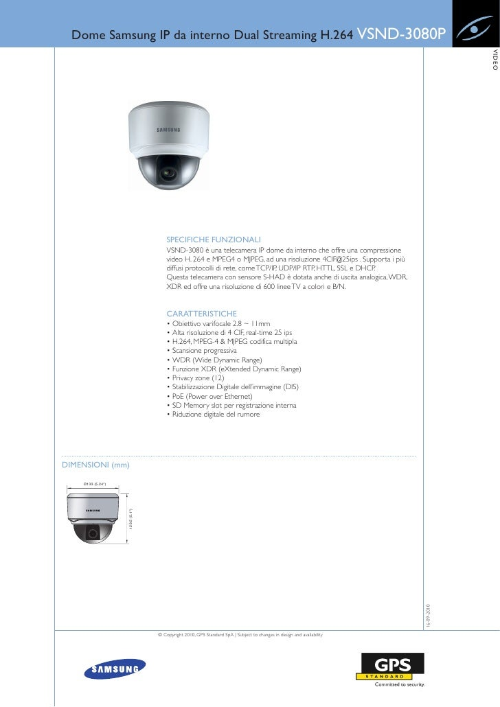 Dome Samsung IP da interno Dual Streaming H.264 VSND-3080P                                                                ...
