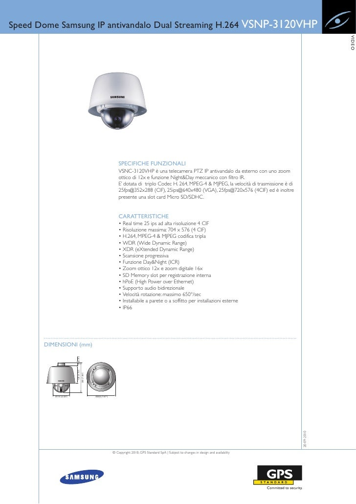 Speed Dome Samsung IP antivandalo Dual Streaming H.264 VSNP-3120VHP                                                       ...