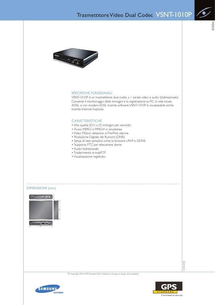 Trasmettitore Video Dual Codec                                             VSNT-1010P                                     ...