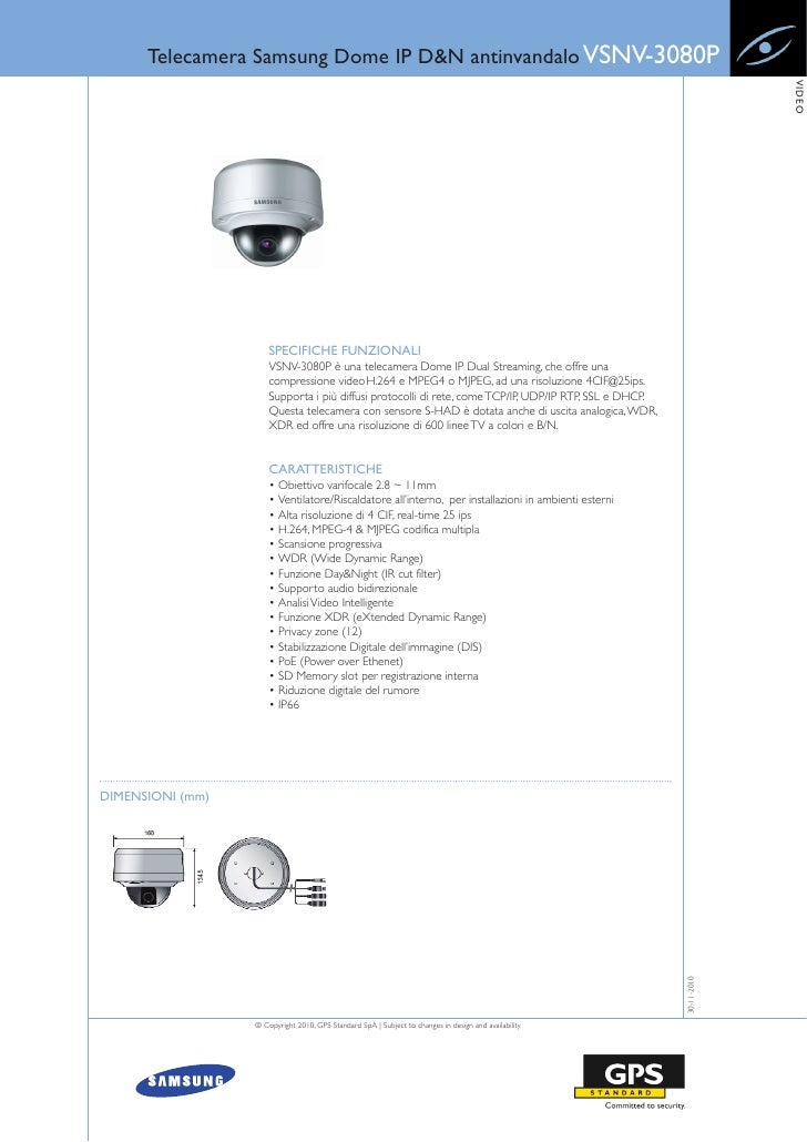 Telecamera Samsung Dome IP D&N antinvandalo VSNV-3080P                                                                    ...