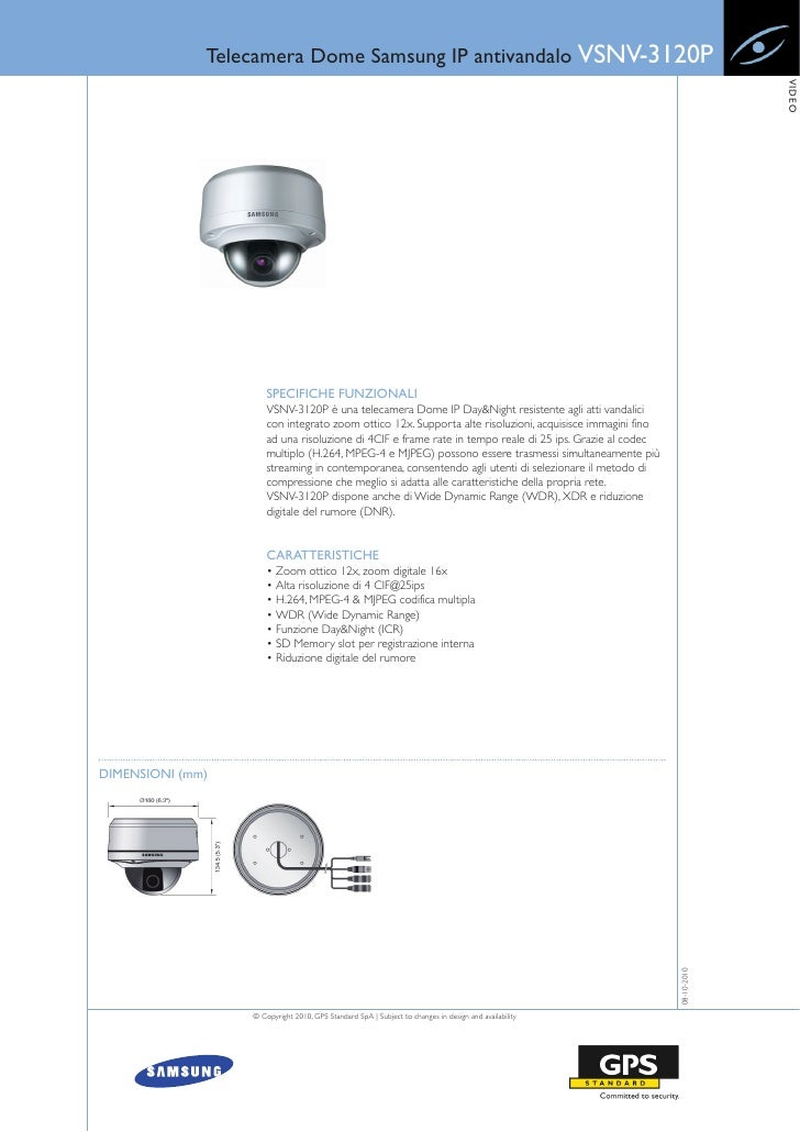 Telecamera Dome Samsung IP antivandalo VSNV-3120P                                                                         ...