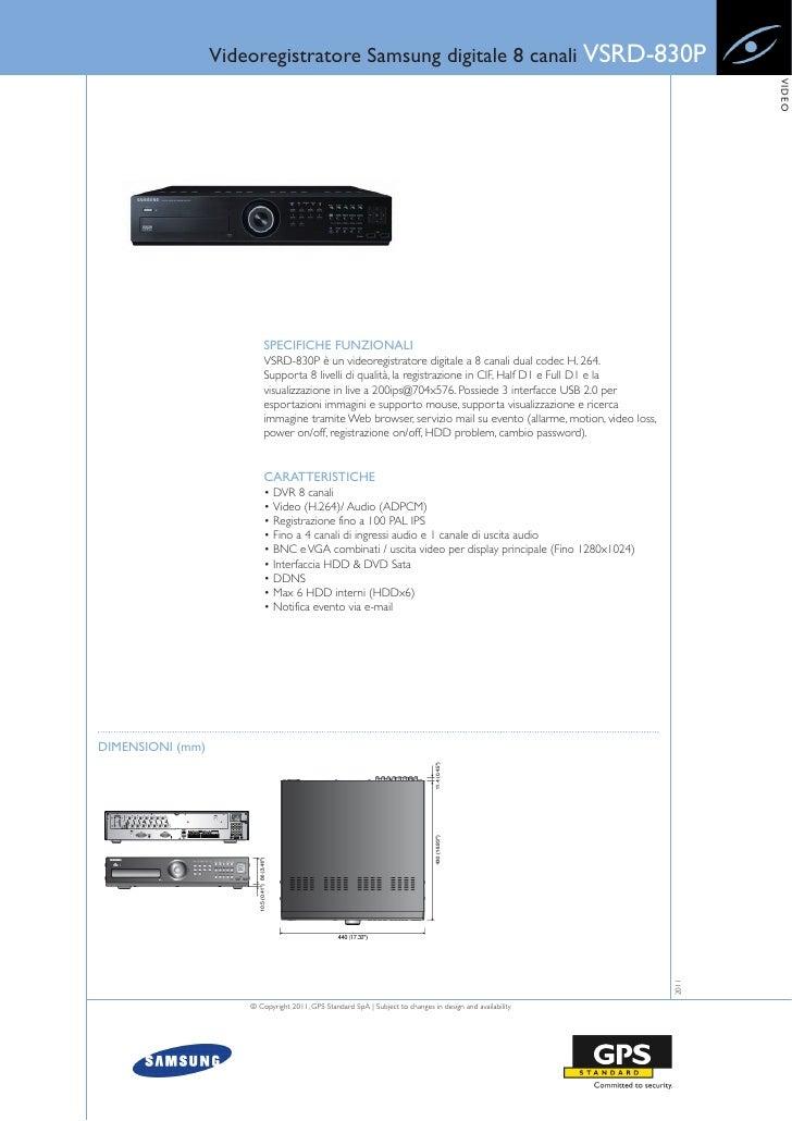 Videoregistratore Samsung digitale 8 canali VSRD-830P                                                                     ...