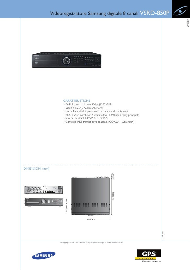Videoregistratore Samsung digitale 8 canali VSRD-850P                                                                     ...