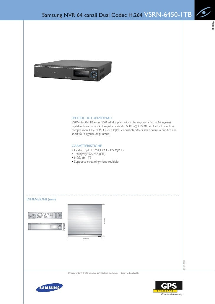 Samsung NVR 64 canali Dual Codec H.264 VSRN-6450-1TB                                                                      ...