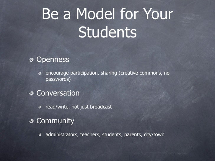 Be a Model for Your       Students Openness   encourage participation, sharing (creative commons, no   passwords)  Convers...