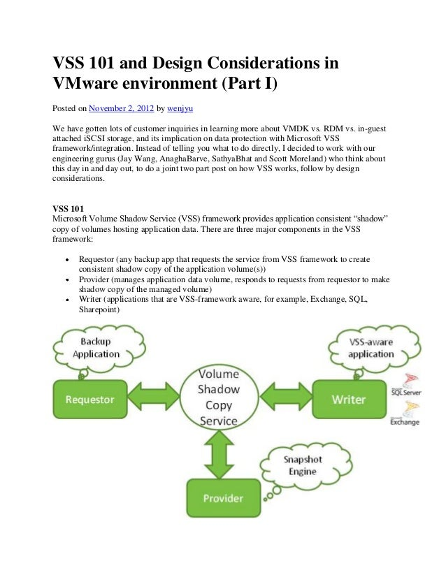 VSS 101 and Design Considerations in VMware environment (Part I) Posted on November 2, 2012 by wenjyu We have gotten lots ...