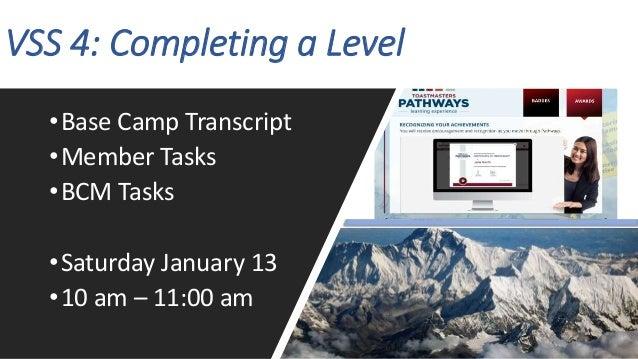 VSS 4: Completing a Level •Base Camp Transcript •Member Tasks •BCM Tasks •Saturday January 13 •10 am – 11:00 am
