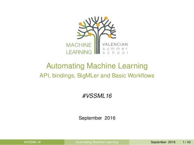 Automating Machine Learning API, bindings, BigMLer and Basic Workflows #VSSML16 September 2016 #VSSML16 Automating Machine ...