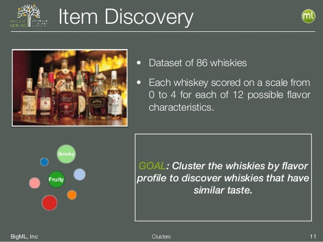 BigML, Inc 11Clusters Item Discovery GOAL: Cluster the whiskies by flavor profile to discover whiskies that have similar t...