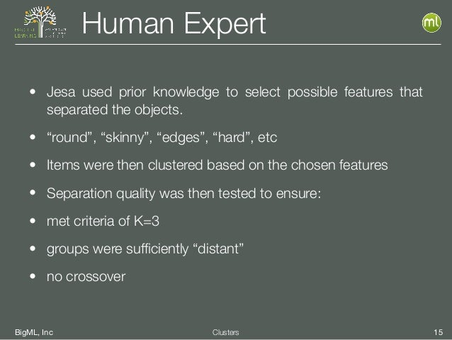 """BigML, Inc 15Clusters Human Expert • Jesa used prior knowledge to select possible features that separated the objects. • """"..."""