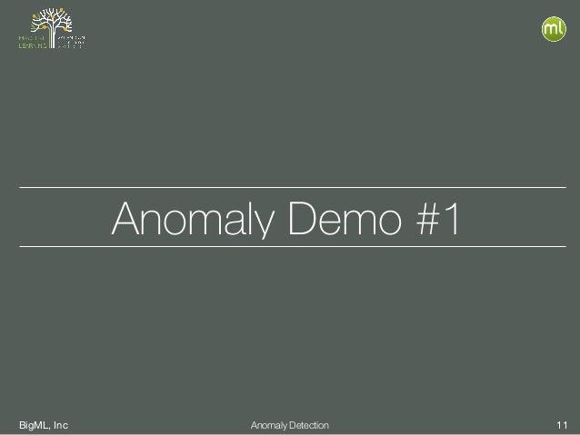 BigML, Inc 11Anomaly Detection Anomaly Demo #1